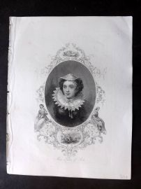 Barclay C1840 Antique Portrait Print. Mary Queen of Scots. Engraving